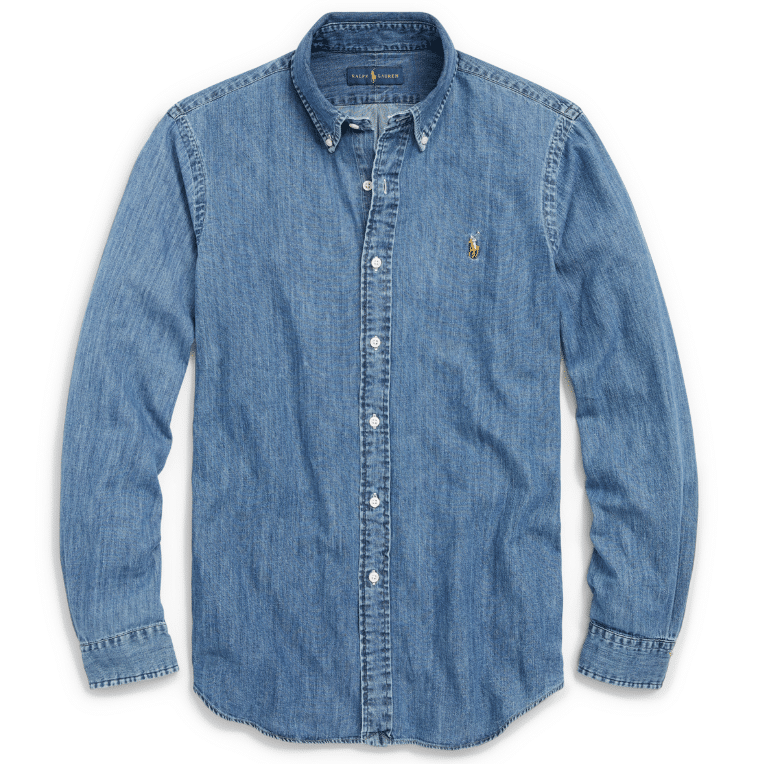 Denim shirt to dress refashion